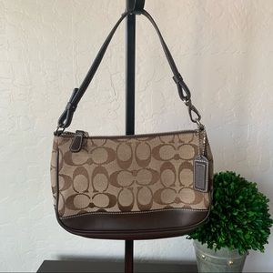 Coach Small Signatures Bag Brown Canvas Leather